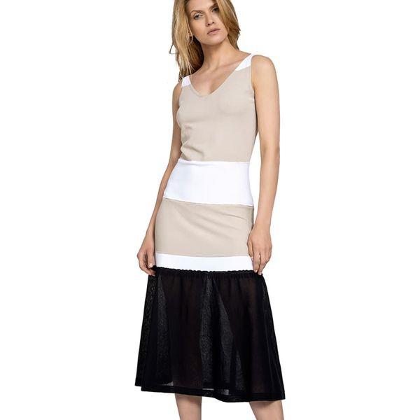2d82c76c4f Sukienka w kolorze biało-beżowo-czarnym - Białe sukienki marki Deni ...